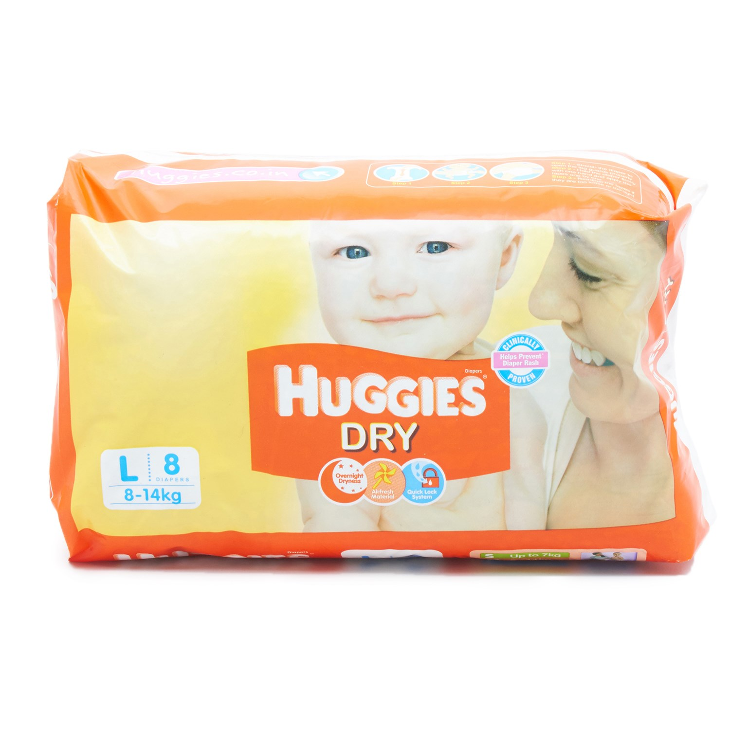 Huggies Dry Diapers Large - 8 Nos