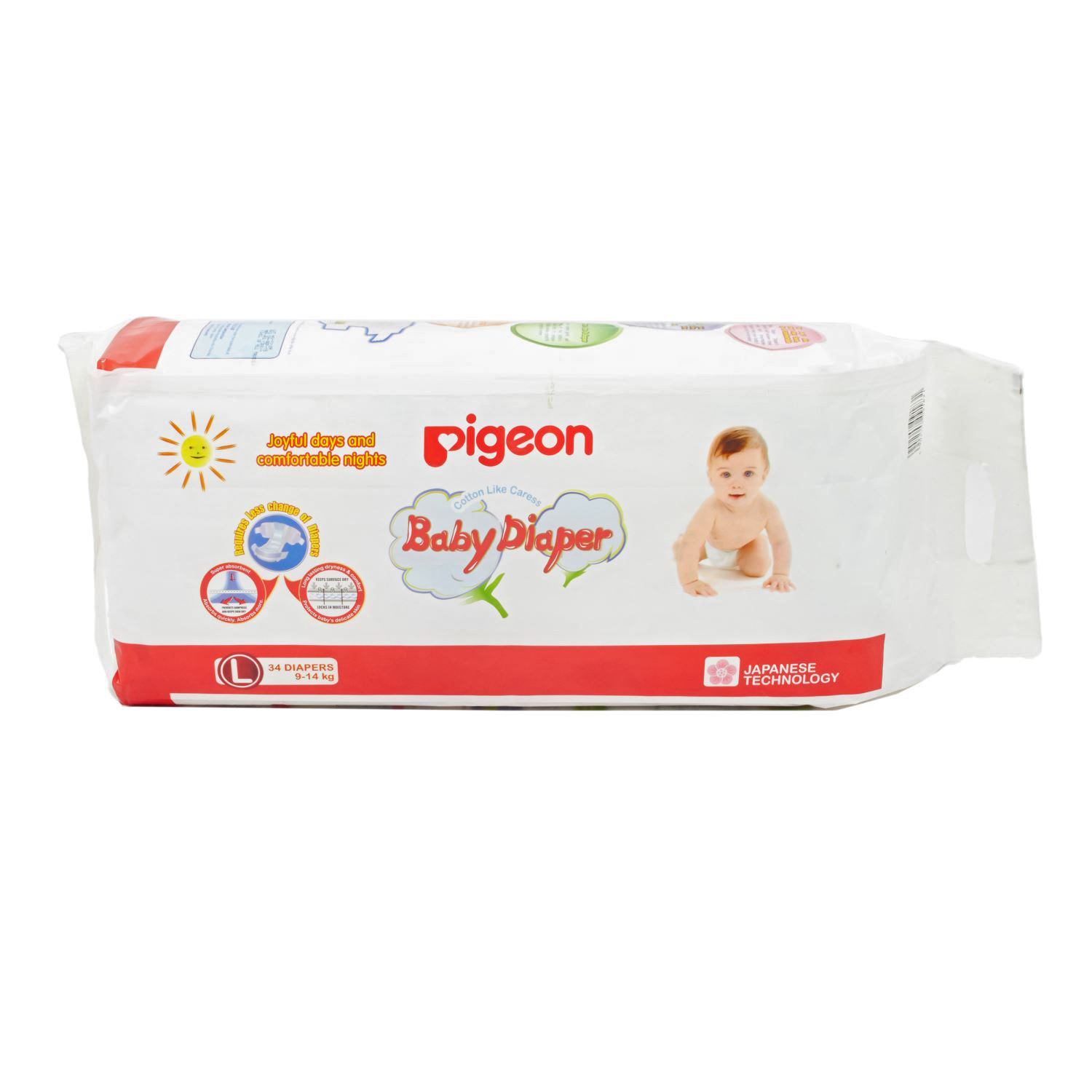 Pigeon Baby Diapers Large - 34 Nos