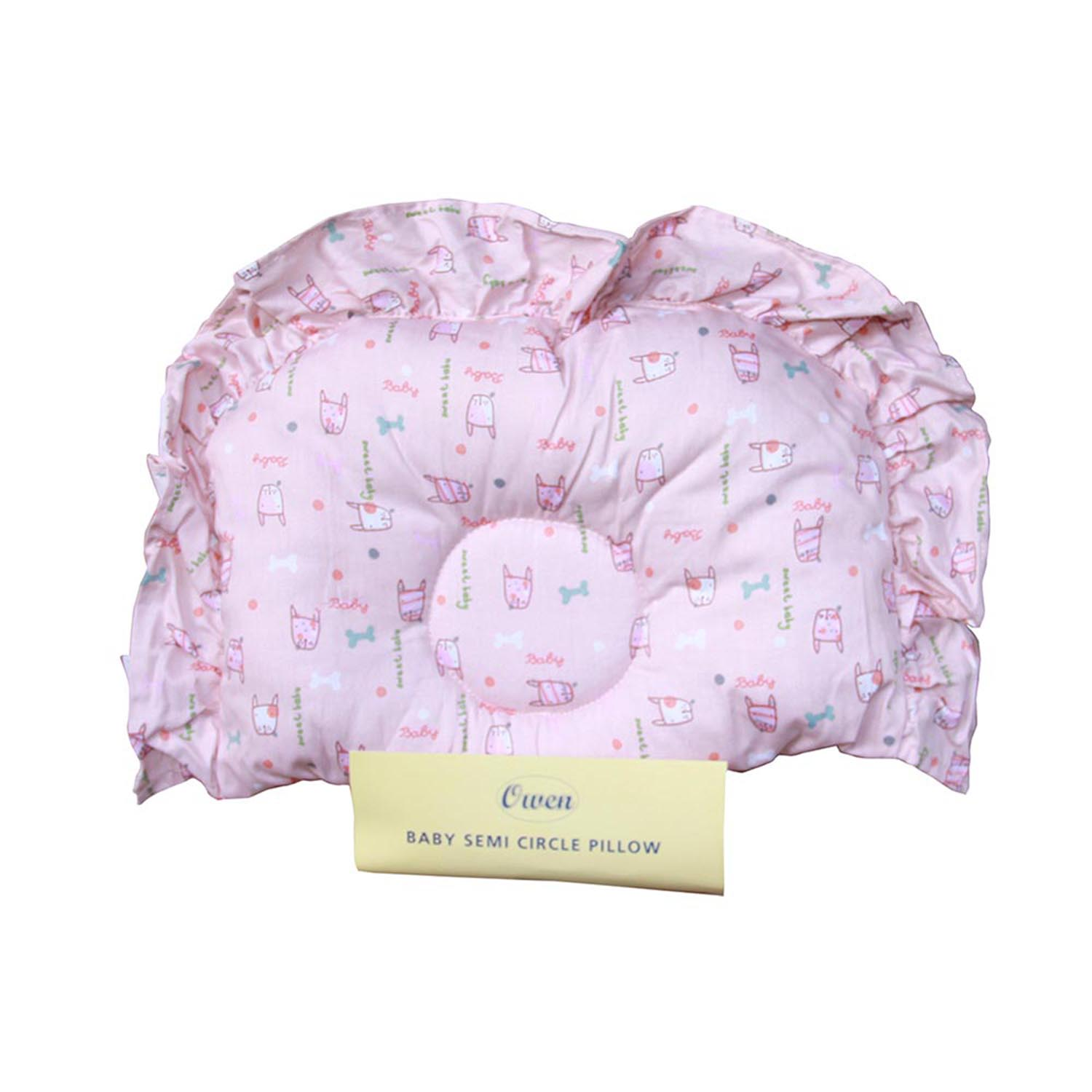 Owen Semi Circle Pillow White Pink