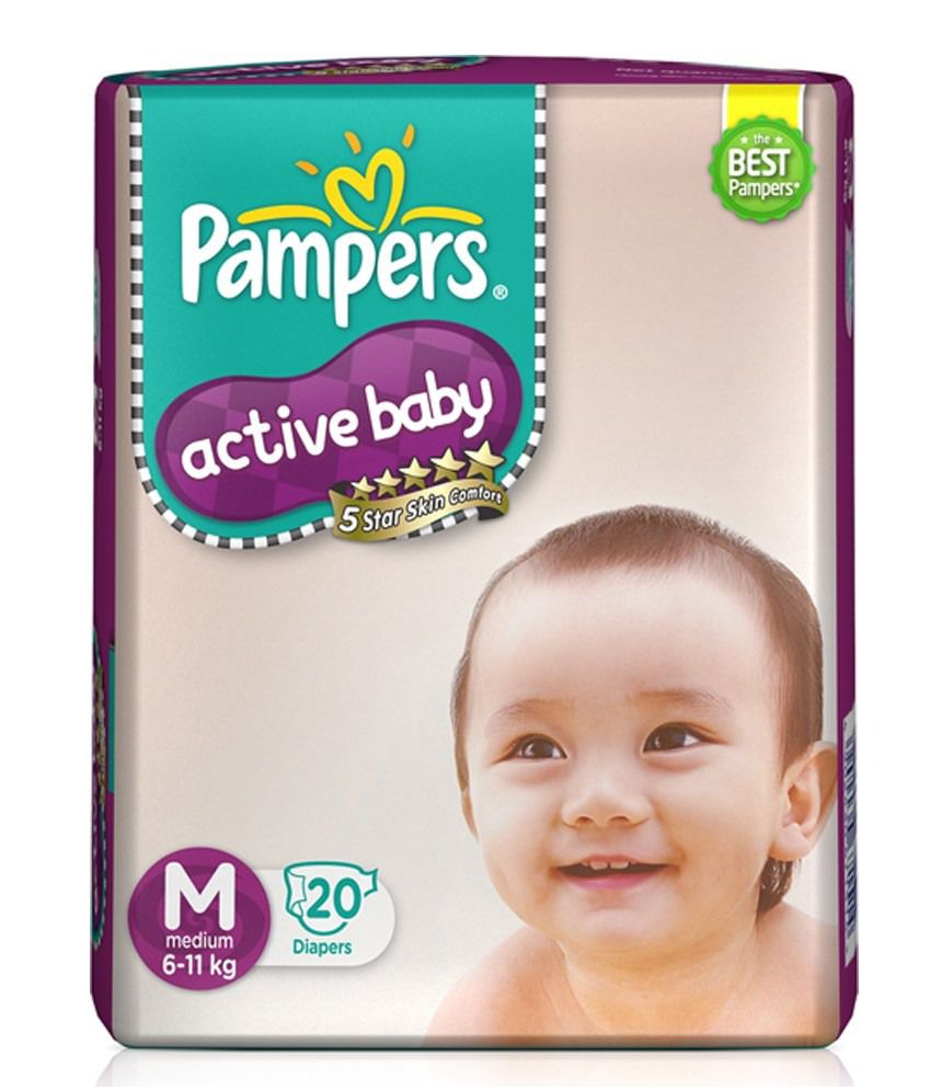 Pampers Active Baby Diapers Medium - 20 Nos